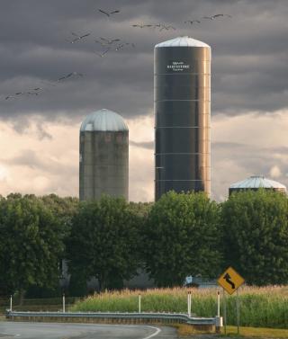Farm silo gray sky 8-18