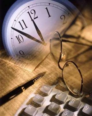 Clock  glasses and calculator 3-19