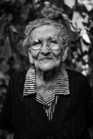 Old woman in black and white 4-19