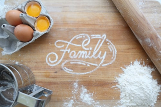 Family in flour on cutting board 9-19